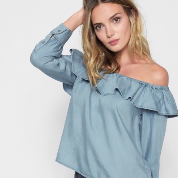 8927725afd 7 for All Mankind Ruffle Off The Shoulder Top M